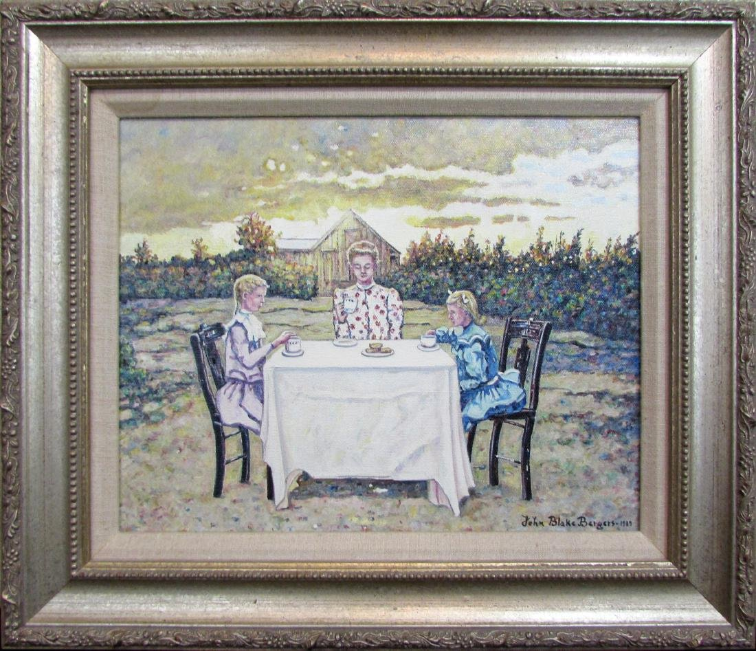 """John Bergers, oil on canvas, """"The Tea Party"""" 1989"""