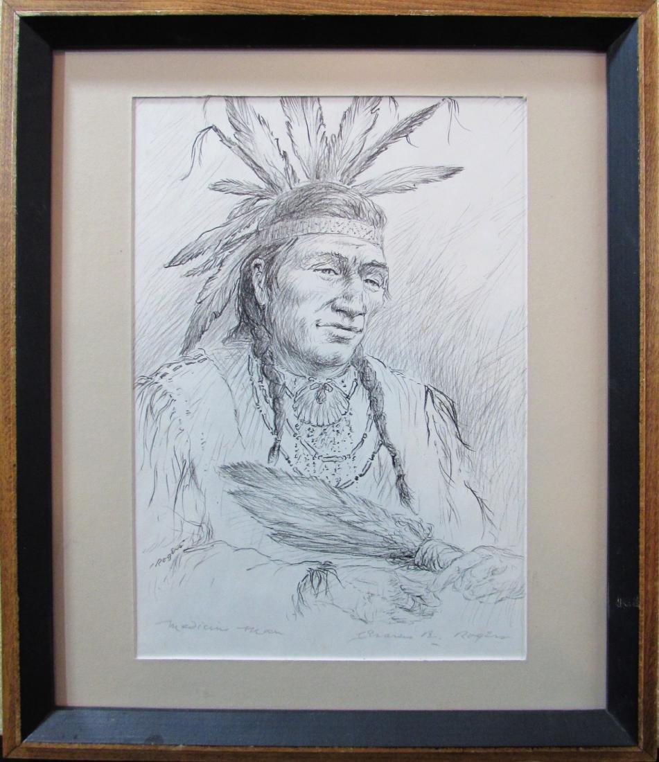 "Charles Rogers, pencil sketch, ""Medicine Man"""