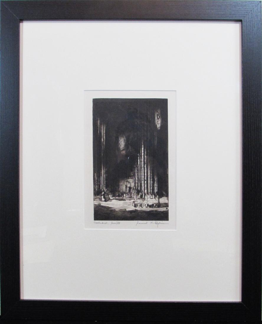 """Samuel K. Popkins, etching, """"Cathedral Seville"""""""