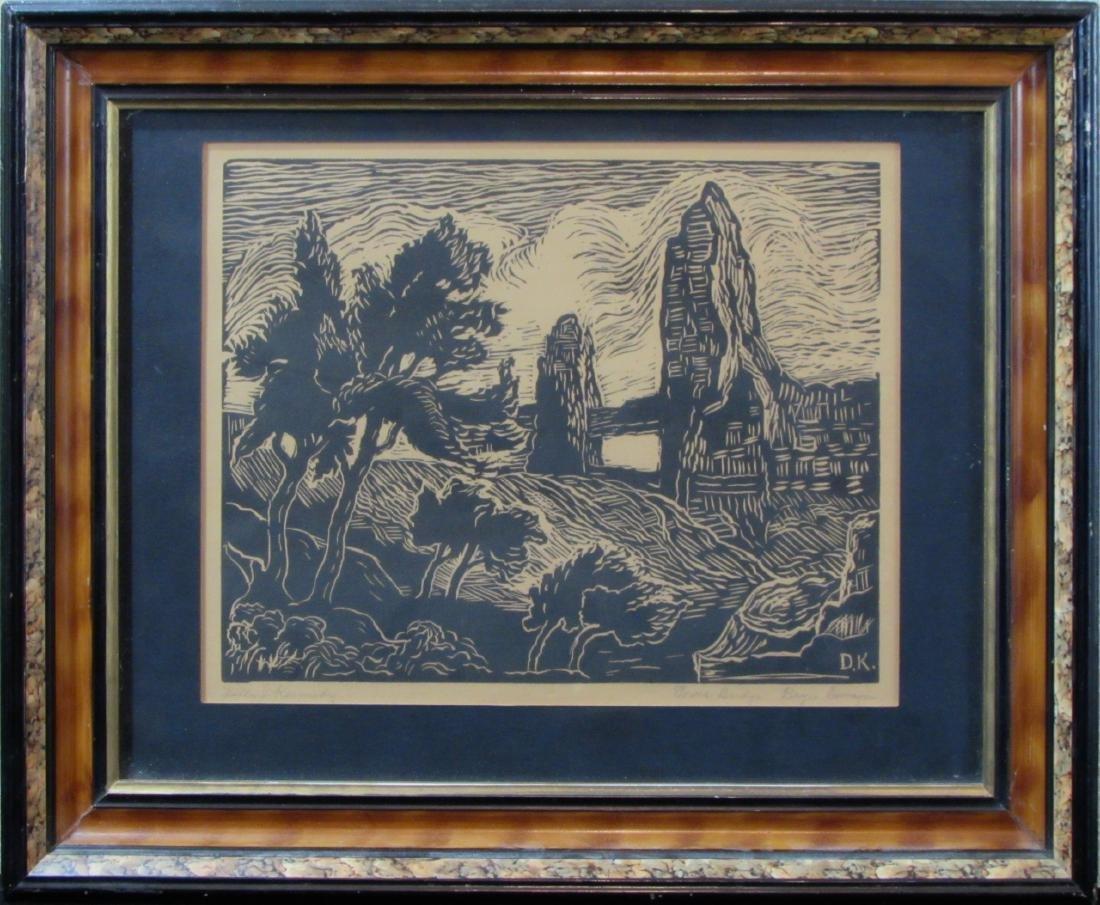 "Della Kennedy, linocut, ""Tower Bridge, Bryce Canyon"""