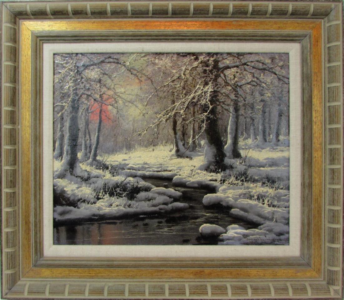 "Laszlo Negrady, oil on canvas, ""Snow Creek"""