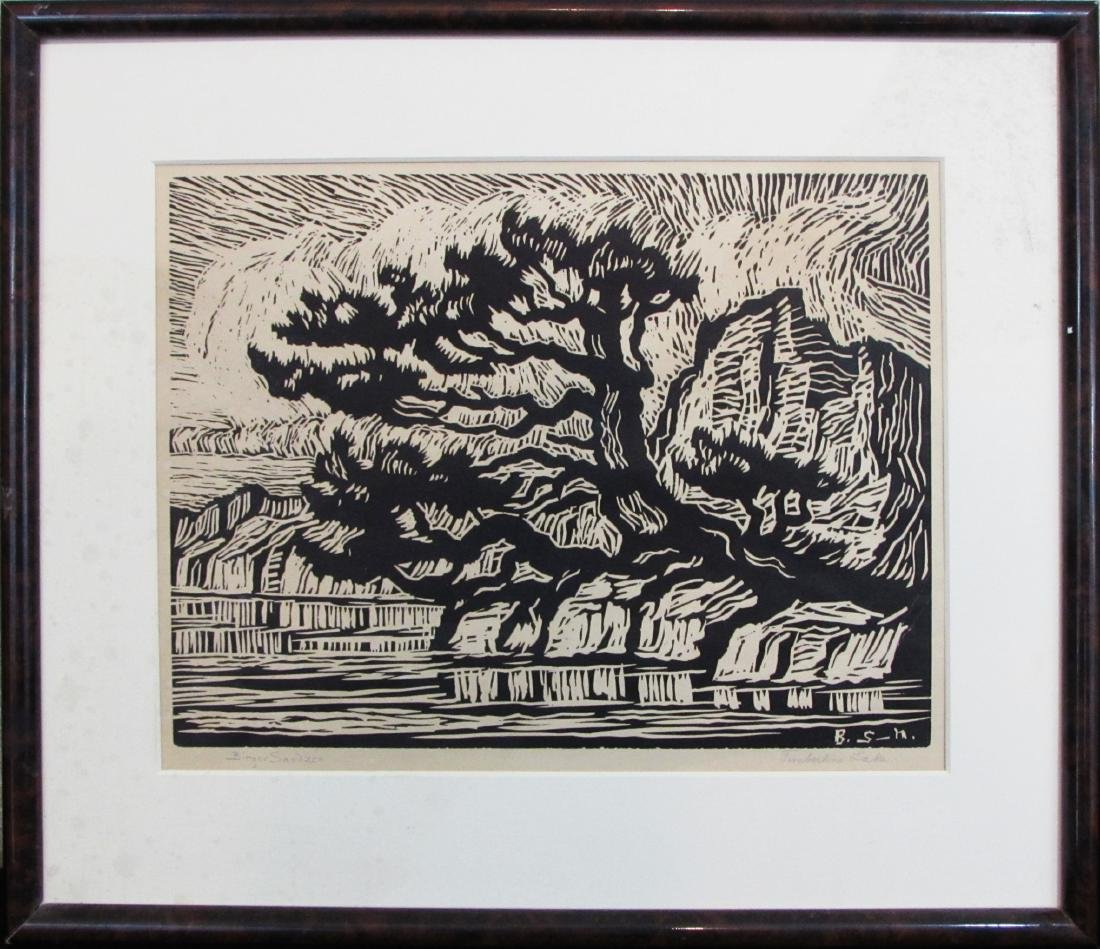 "Birger Sandzen, linocut, ""Timberline Lake"", 1925"