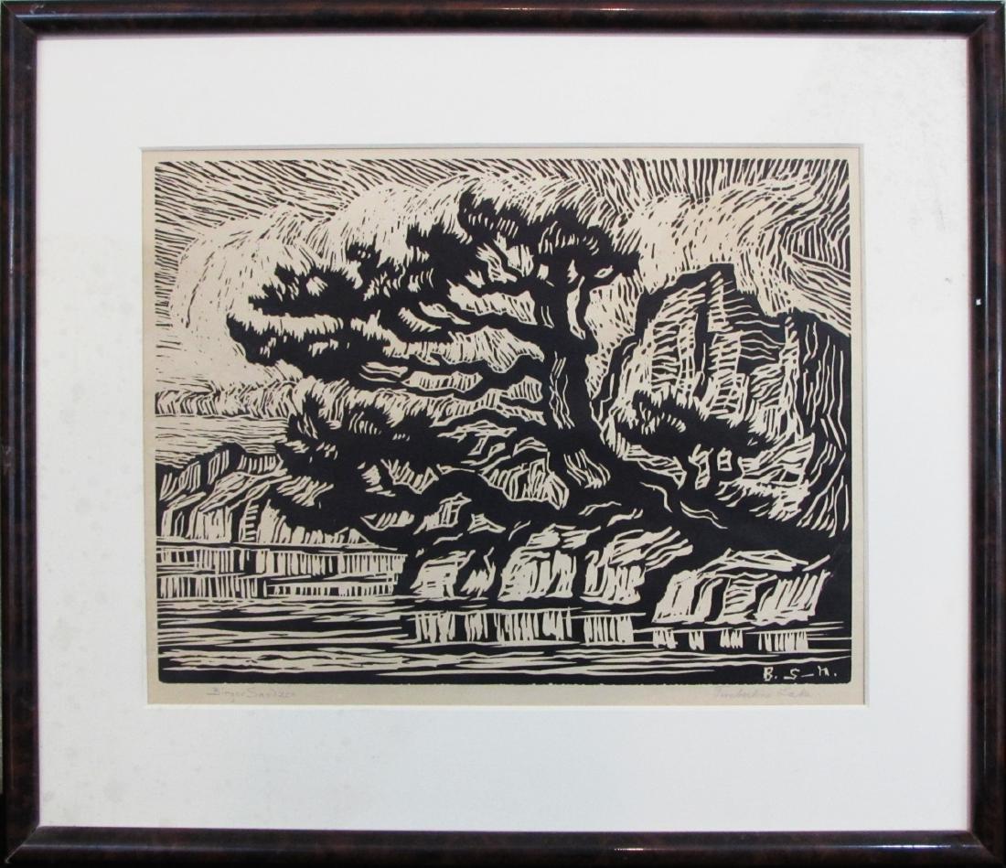 "Birger Sandzen, linocut, ""Timberline Lake"", 1925"