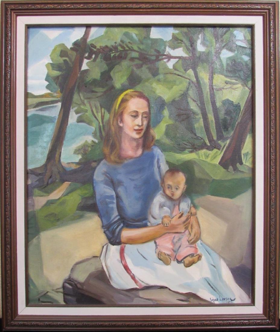 """Signe Larson, oil, """"American Madonna"""" 1962"""