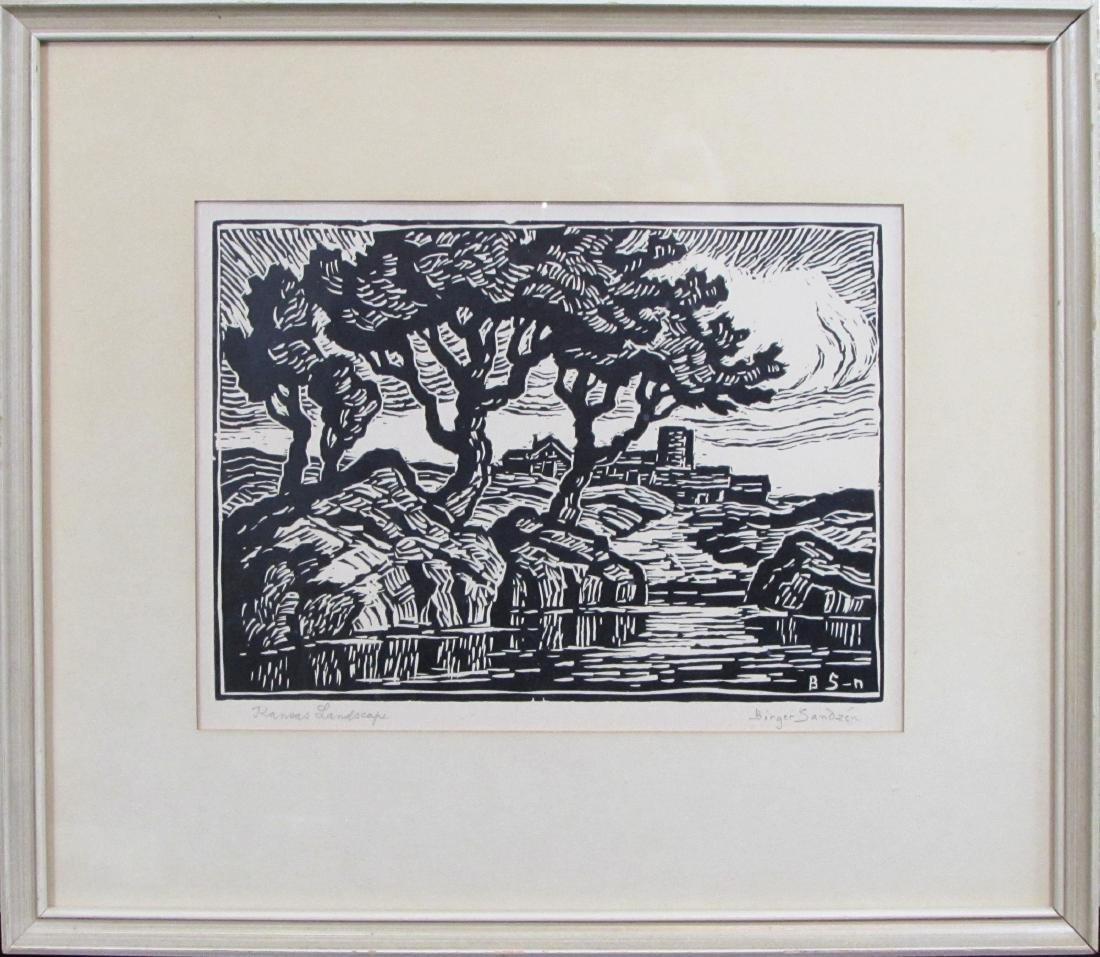 "Birger Sandzen, linocut, ""Kansas Landscape"""