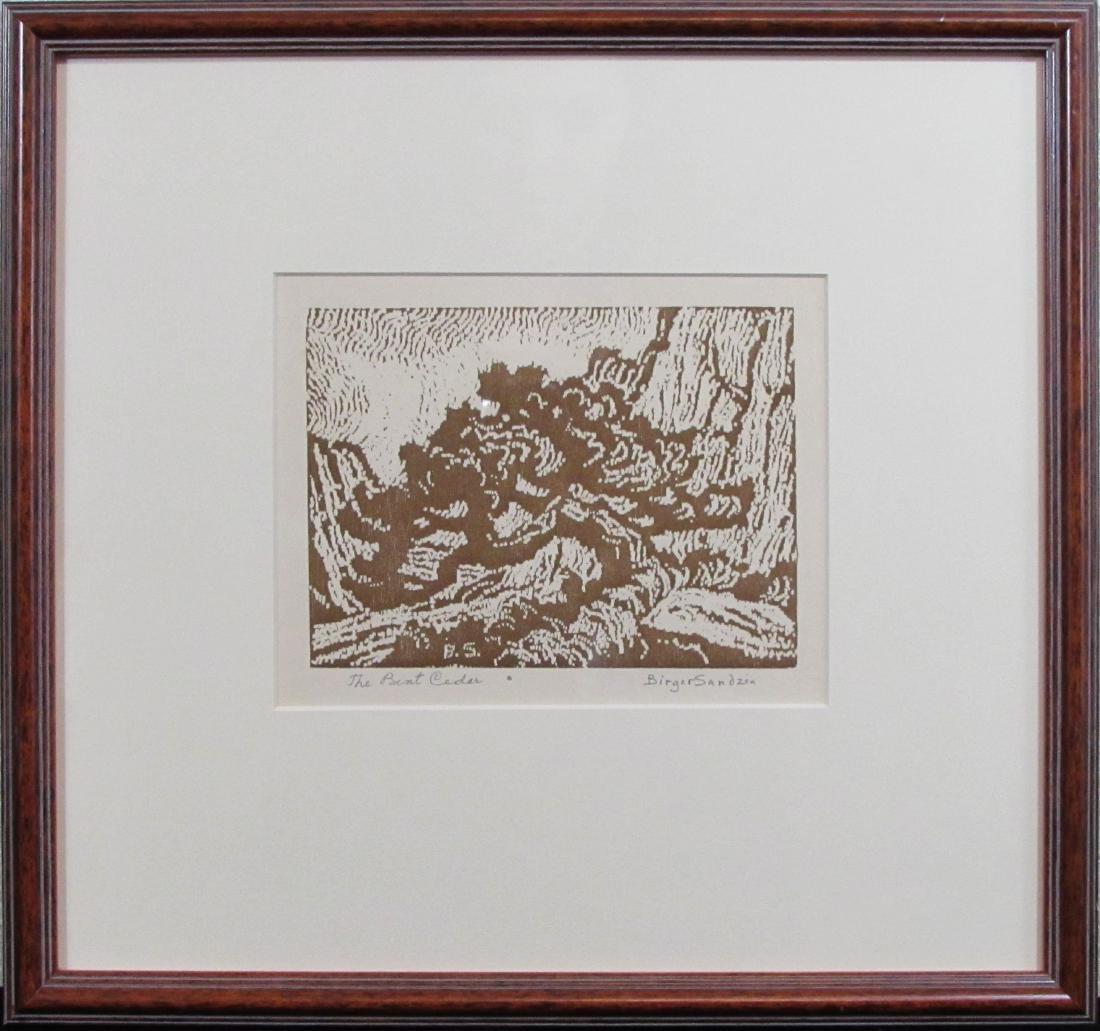 """Birger Sandzen, wood cut, """"The Bent Cedar"""", 1920"""