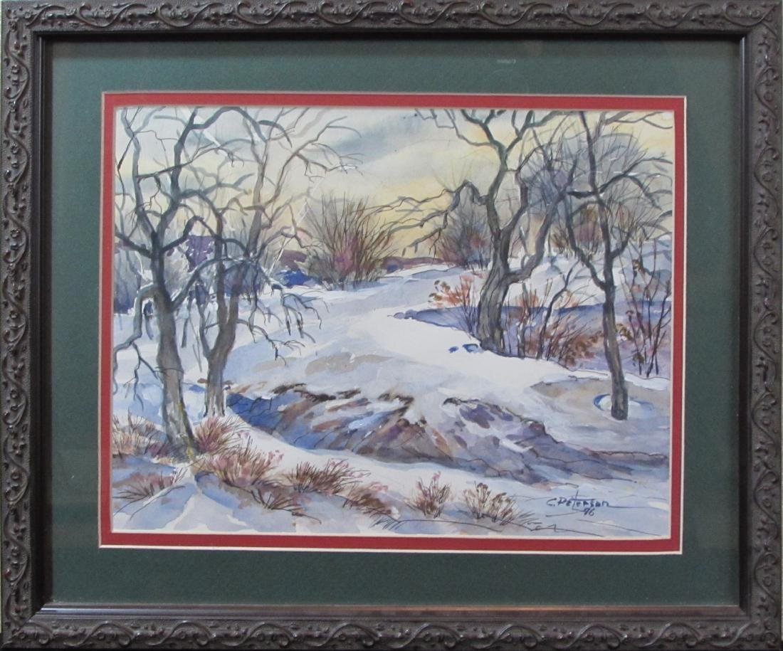 "Carl Peterson, watercolor, ""Kansas Smoky Valley"", 1996"