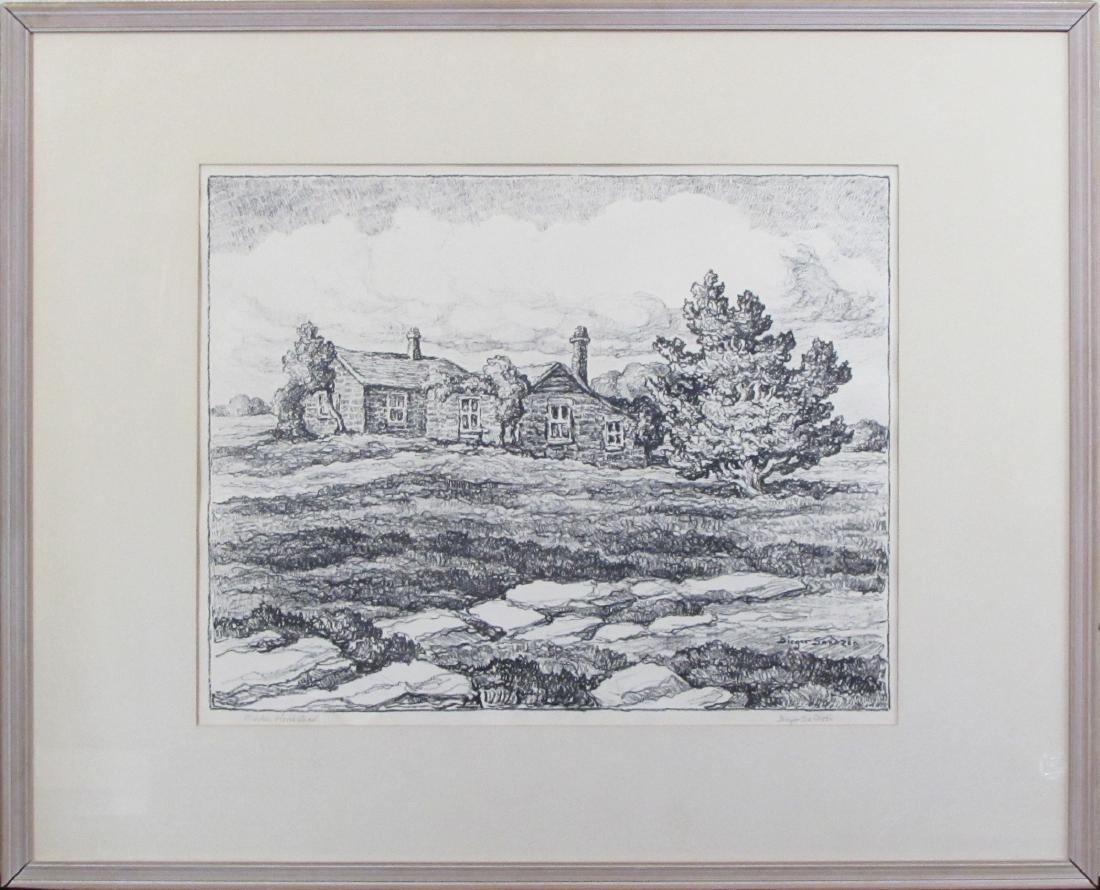 """Birger Sandzen, lithograph, """"Barker Homestead"""""""