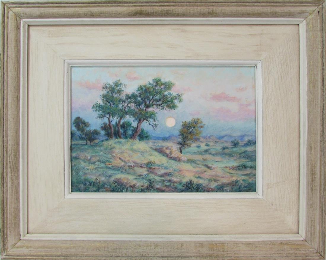 "Charles Rogers, oil on board, ""Moon at the Ridge"""