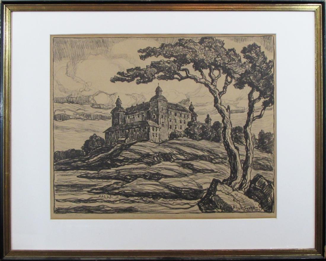 """Birger Sandzen, lithograph, """"Lecko Castle"""""""