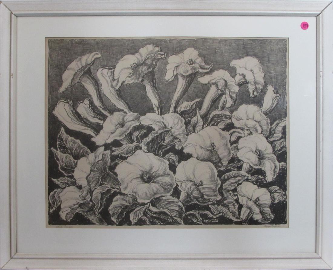 """Birger Sandzen, lithograph, """"White Trumpets"""""""
