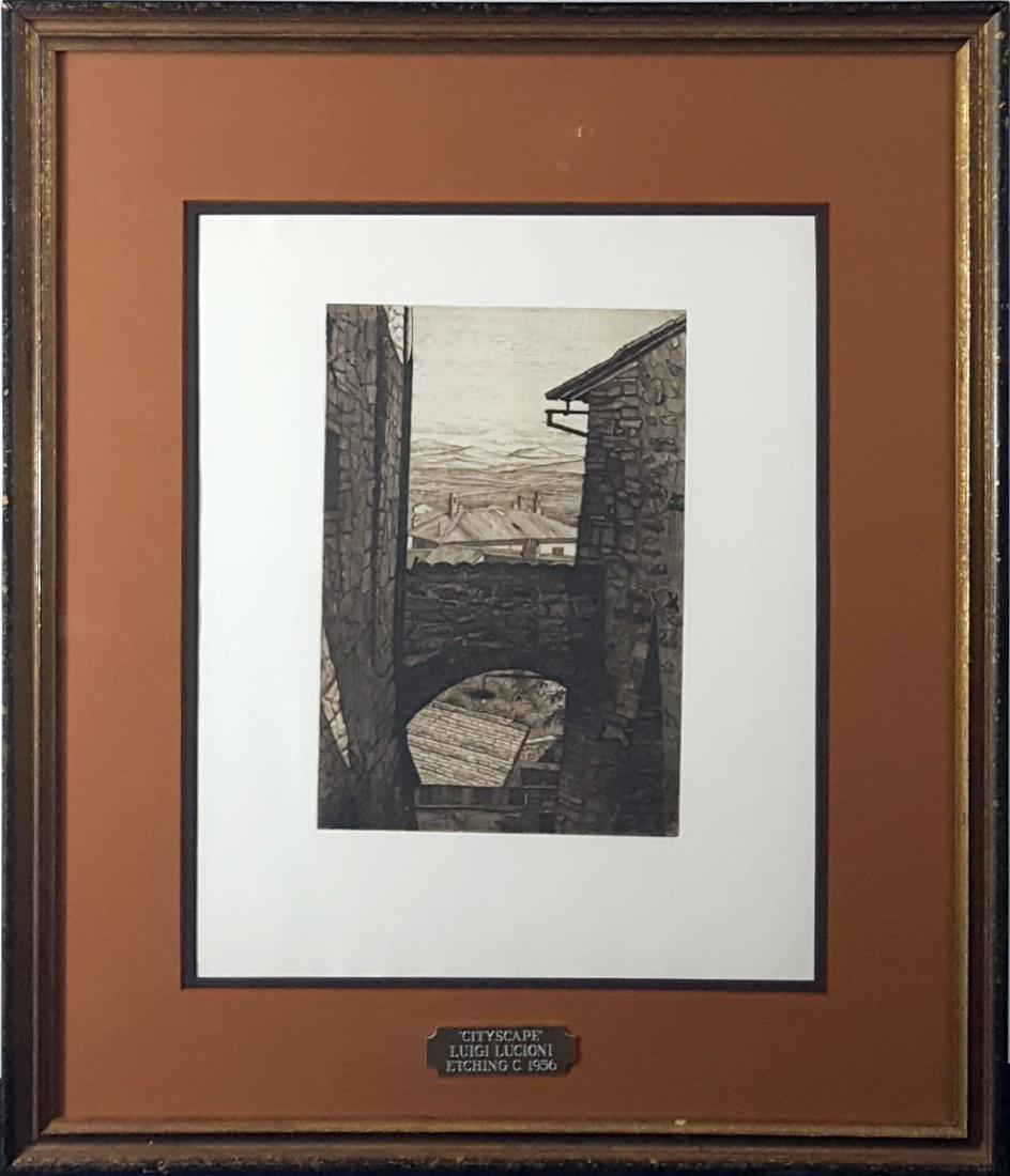 "Lucioni, Luigi - ""Stones and Shadows"" etching, 1956"