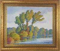 """Sandzen """"Autumn (Smoky River)"""" oil on board, 1944"""