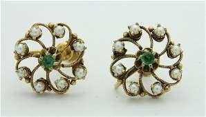 Vintage Emerald & Pearl Screw Clip On Back Earrings