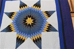 """Lone Star Quilt 86"""" X 108"""" Blue and White Lone Star"""