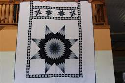 """Lone Star Quilt 90"""" X 108"""" Blue & White Lone Star"""