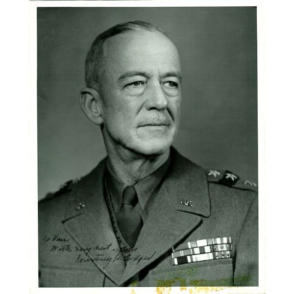 22V: Signed WWII Photo: Lt. General Courtney H. Hodges
