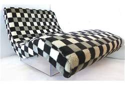 Mid-century Modern Chaise Lounge on Lucite Base