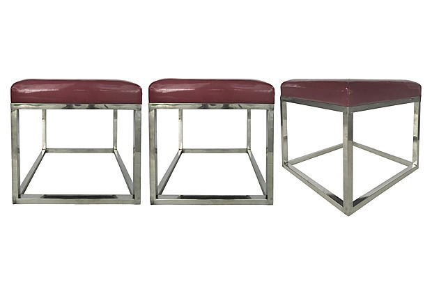 3 Mid-century Modern Polished Stainless Steel Stools