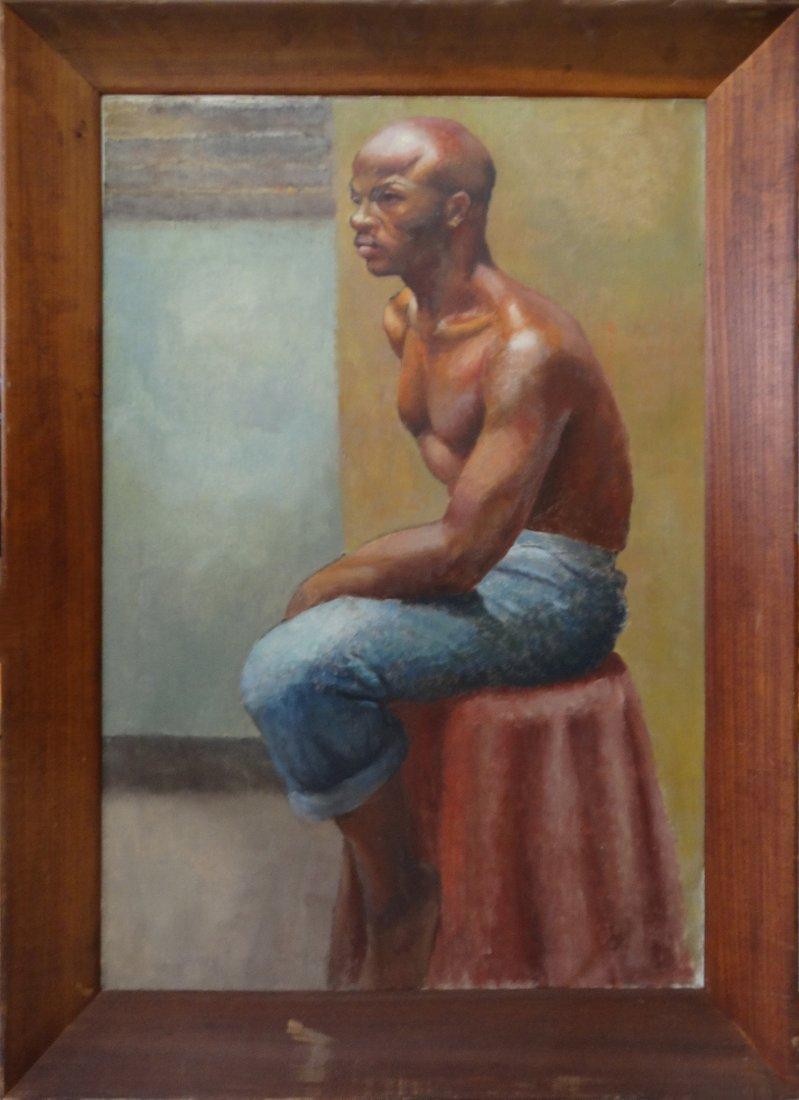 Fine Quality Male Study Oil Painting Black Art