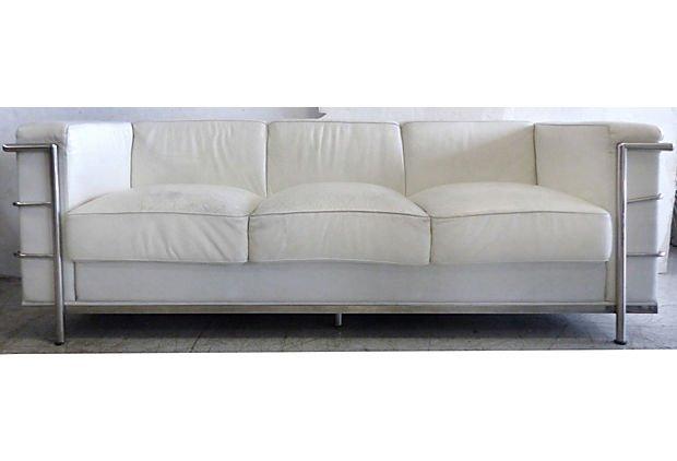 Mid-century Art Deco Leather Sofa After Le Corbusier