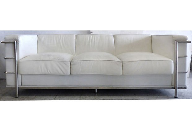Mid-century Art Deco Leather Sofa After Le Corbusier