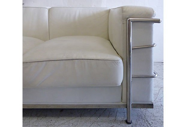 Mid-century Art Deco Leather Sofa After Le Corbusier - 5