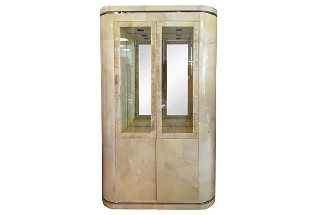 Karl Springer Mid-century Goatskin Display Cabinet