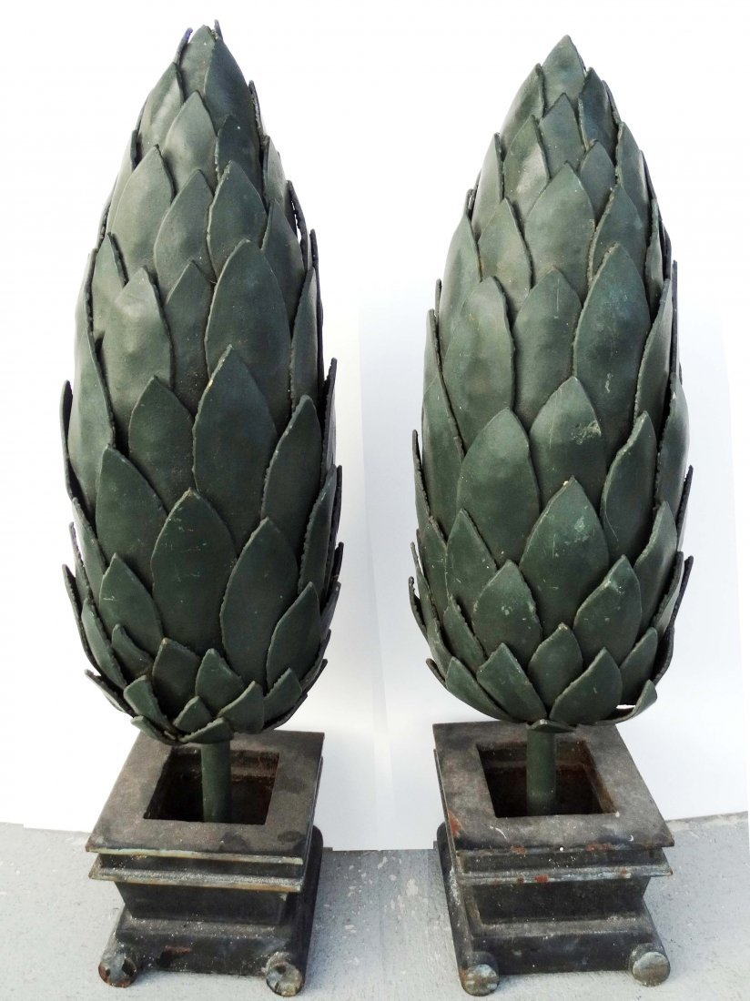 Versace Store Iron Topiary Tree Sculptures - A Pair