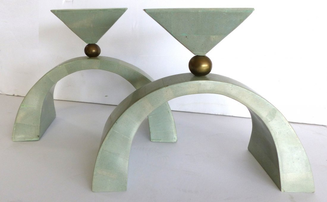 Maitland-Smith Tessellated Stone Candleholders Pair
