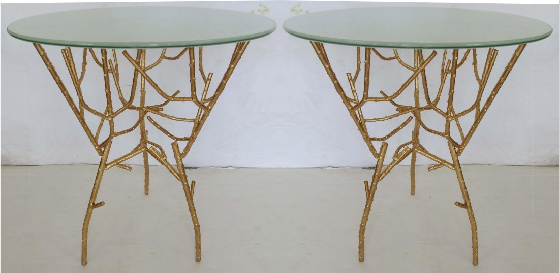 Gilt Iron Twig Side Tables - a Pair