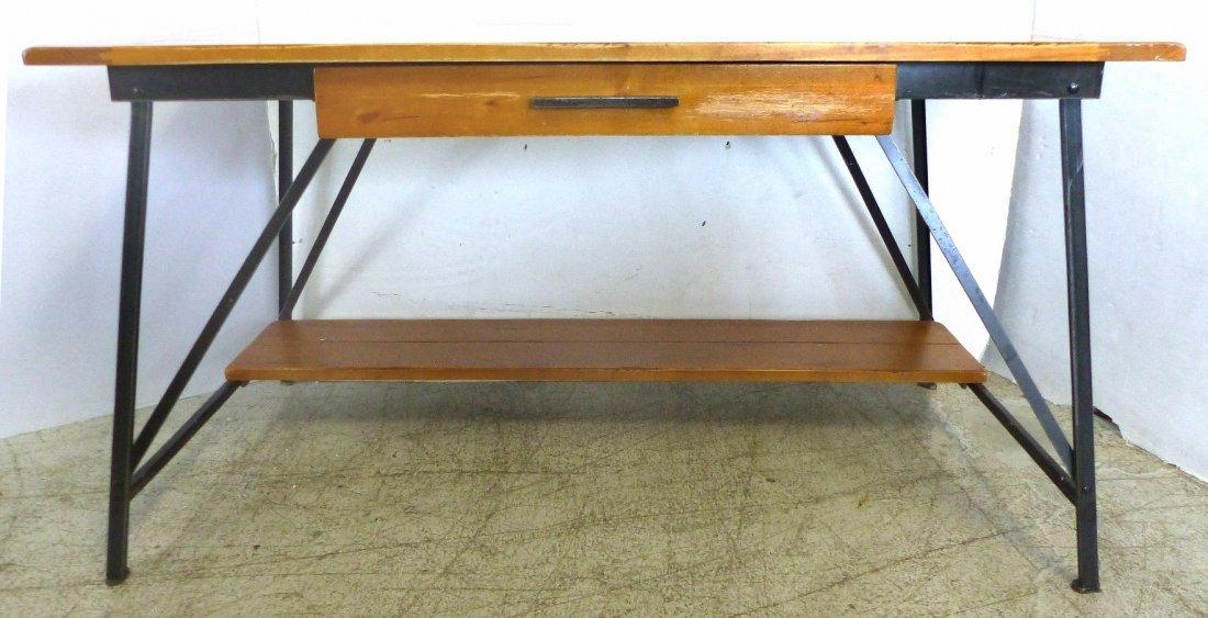 Mid-century Industrial wood & Steel Desk