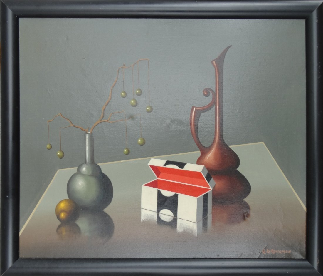 Surrealist Still Life oil Painting signed Ch Verdurmen