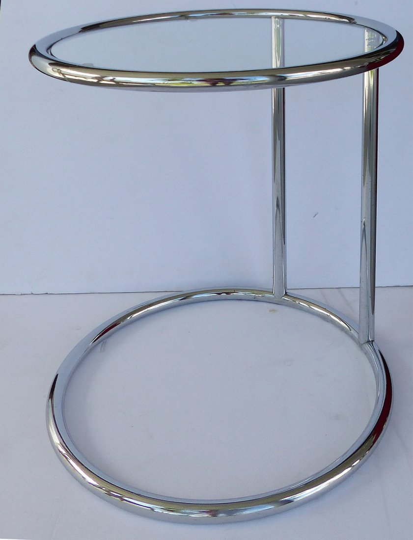 century Modern Cantilever Chrome & Glass Side Table