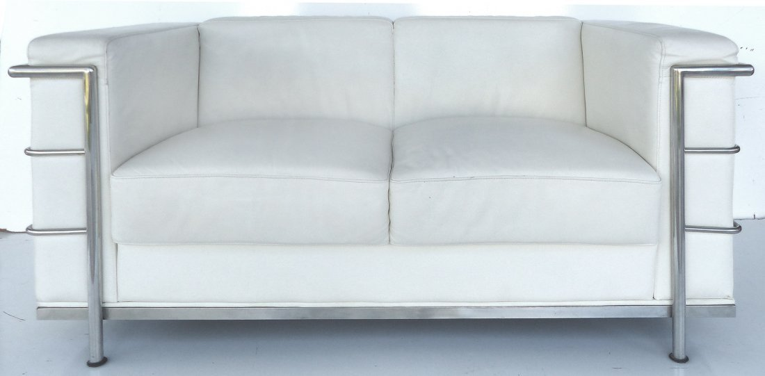 Mid-century Leather Love-seat Style of Le Corbusier