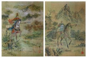 1920\\\'s Asian Watercolor Paintings On Cork, Signed