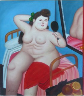 Vintage Abstract Botero Style Oil Painting, N. Siebol