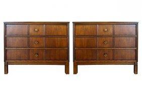 Bassett Mid-century Modern 3-drawer Nightstands, Pair