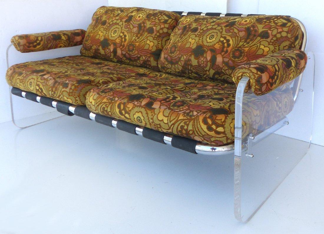 Mid-century Lucite & Chrome Love-seat