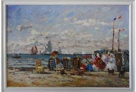 Mid-century Seaside Impresionist Oil Painting On Linen
