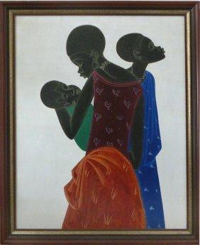 African Women & Child Painting Artist Ngombe
