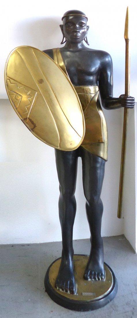 Hagenauer Style Life Size Brass Warrior Sculpture