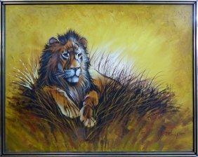 Monumental Mid-century Modern Lion Painting