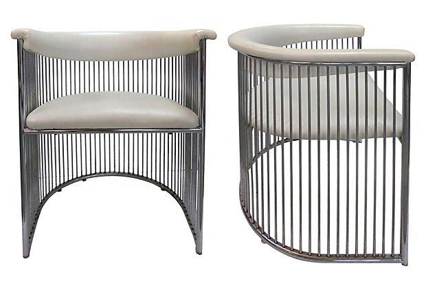 Mid-century Chrome Barrel Chairs - a Pair