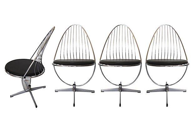 1970s Chrome Swivel Side Chairs, S/4