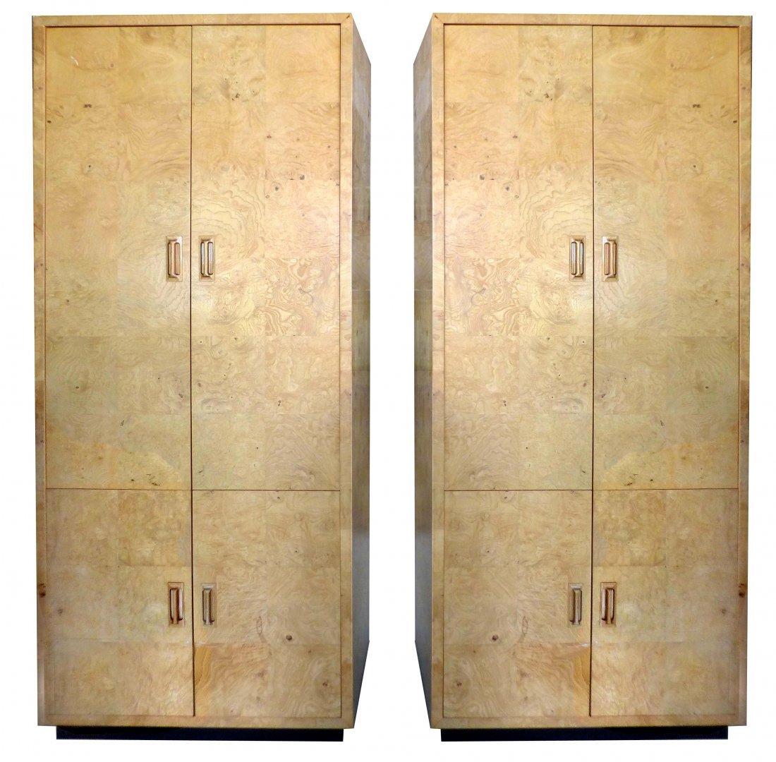 Mid-century Modern Henredon Burl Cabinets - a Pair