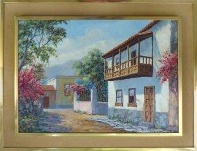 Colonial St. Scene Oil Painitng Lopex Mazedo (spanish)