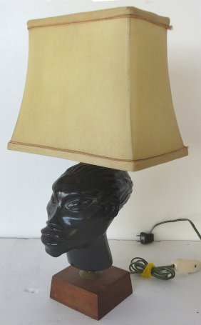 Mid-century Stylized African Carved Wood Table Lamp