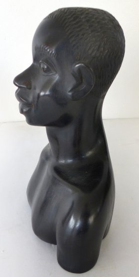 Carved African Ebony Head Sculpture