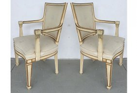 Painted & Upholstered Neoclassical Style Armchairs